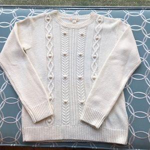 Crew Cuts Girls Cable Sweater in Cream